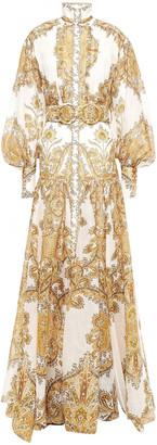Zimmermann Zippy Billow Printed Linen And Silk-blend Maxi Dress