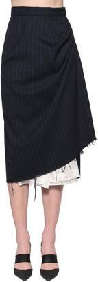 Act N°1 DISTRESSED PINSTRIPE MIDI SKIRT