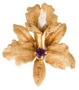 14K Amethyst & Pearl Orchid Brooch