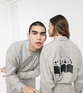Collusion Unisex oversized check shirt with plastisol print