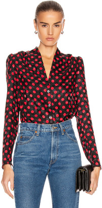 RE/DONE 40's Tailored Blouse in Red Polka Dot | FWRD