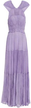 Ulla Johnson Freesia Tiered Twist-back Silk-crepon Maxi Dress