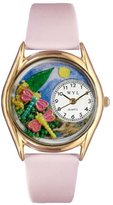 Whimsical Watches Women's C1210007 Classic Gold Dragonflies Pink Leather And Goldtone Watch