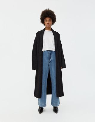 LAUREN MANOOGIAN Women's Long Shawl Cardigan Sweater in Black Melange, Size 0 | Alpaca/Polyamide