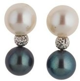 sendmyjewelry 18kt White Gold Bead Earrings with 8.5mm Black and White Pearls