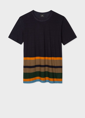 Paul Smith Men's Navy Cotton T-Shirt With Stripe Hem