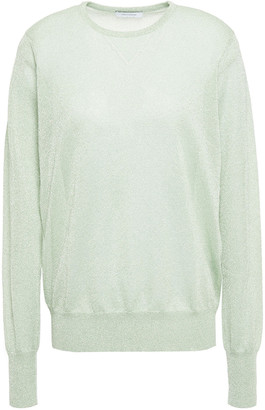 Ninety Percent Pointelle-trimmed Metallic Knitted Sweater