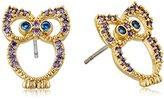 "Betsey Johnson Spring Critters"" Cubic Zirconia Owl Stud Earrings"
