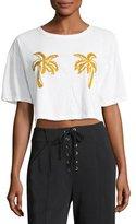 A.L.C. Teagan Palm-Embroidered Crop Cotton Tee