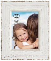 Prinz Clearwater Distressed Wood Frame with Gilded Border, 5 by 7-Inch, White