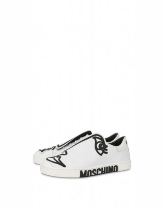 Moschino Woman's Drawing Sneakers Woman White Size 35 It - (5 Us)