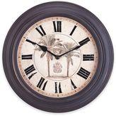 Sterling & Noble Palm Tree Wall Clock in Dark Brown