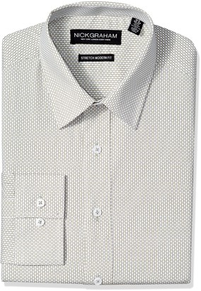 Nick Graham Men's Modern Fitted Tile Print Stretch Shirt