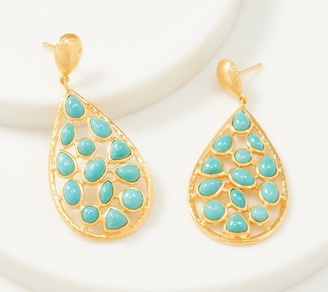 Opaque Gemstone Pear Shaped Drop Earrings, 14K Plated