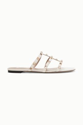 Valentino Garavani The Rockstud Leather Sandals - Ivory