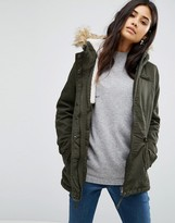Only Short Parka With Faux Fur Hood