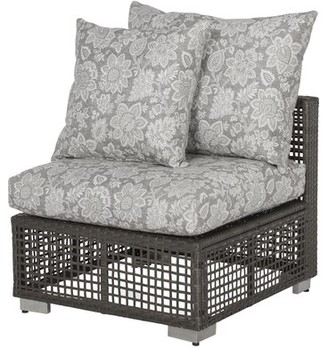 Bronx Ivy Mcmanis Outdoor Open Weave Rattan Patio Chair with Cushion Ivy Cushion Color: Gray Classic Floral Sunbelievable Fabric