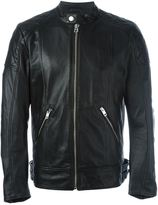 Diesel panelled zip up jacket - men - Cotton/Sheep Skin/Shearling/Polyester - S