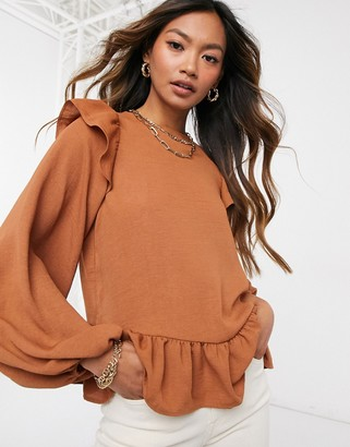 ASOS DESIGN long sleeve top with ruffle detail in dark rust-No Color