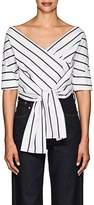 Ji Oh Women's Tie-Front Striped Cotton Poplin Top