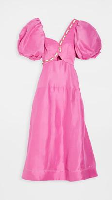 Aje Coda Eyelet Midi Dress