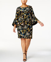 INC International Concepts Anna Sui Loves Plus Size Bell-Sleeve Sheath Dress, Created for Macy's
