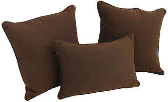 Blazing Needles Solid Twill Throw Pillows with Inserts, Set of 3,, Chocolate
