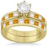 Allurez Designer 18k Y Gold Princess Cut 1.3ct Channel Set Citrine Bridal Set GH VS