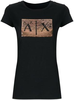 Armani Exchange sequin-embellished crew-neck T-shirt