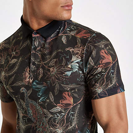 River Island Mens Dark Green floral print muscle fit polo shirt