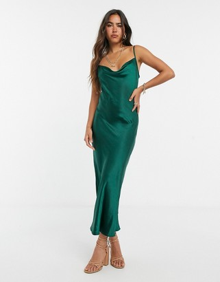 Pretty Lavish cami satin midaxi slip dress with cowl neck in emerald green