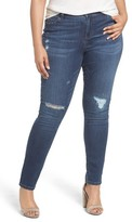 Caslon Plus Size Women's Rip Repair Skinny Jeans
