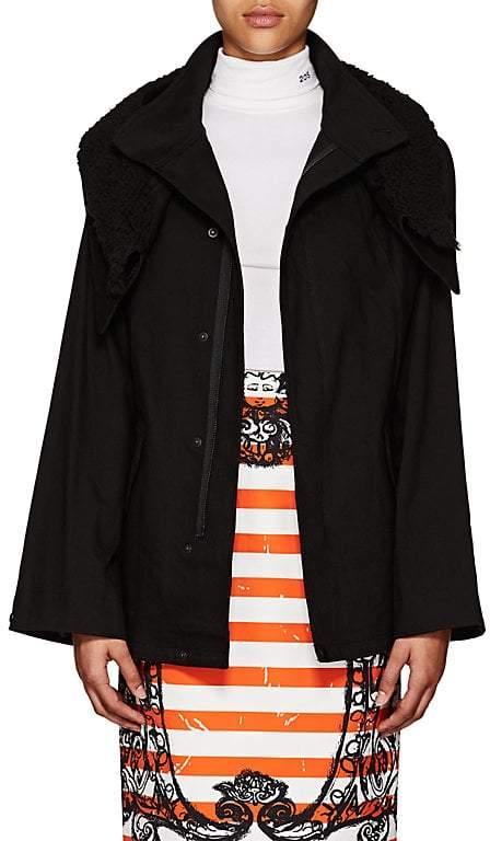 Yohji Yamamoto Regulation Women's Sherpa-Trimmed Cotton Canvas Jacket