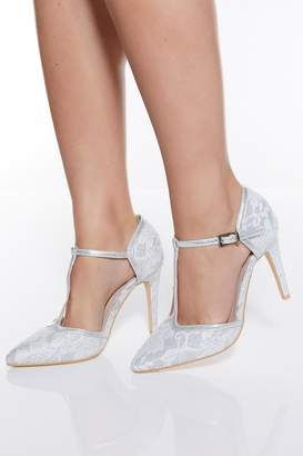 Quiz Silver Glitter Lace T-Bar Heeled Shoes