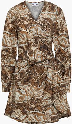 Ganni Printed Cotton-poplin Mini Wrap Dress