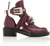 Balenciaga Women's Ceinture Leather Ankle Boots-Dark Purple