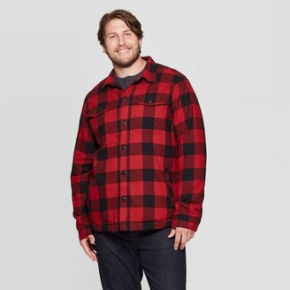 Men's Big & Tall Plaid Sherpa Lined Shirt Jacket - Goodfellow & CoTM