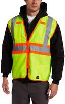 Key Apparel Men's Big-Tall Solid Vest High Visibility Reflective Stripe Zip Front, Hi-vis, 3X-Large-Regular