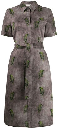 Lardini Bird-Print Shirt Dress