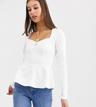 Asos DESIGN Tall exclusive scuba top with long sleeve and pep hem in white