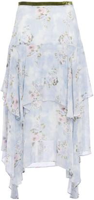 LoveShackFancy Alex Tiered Floral-print Silk-georgette Midi Skirt