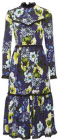 Erdem Georgie Lace-trimmed Printed Silk Crepe De Chine Dress - Navy