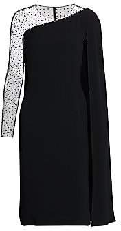 Jenny Packham Women's Embellished Illusion Cape Sleeve Dress