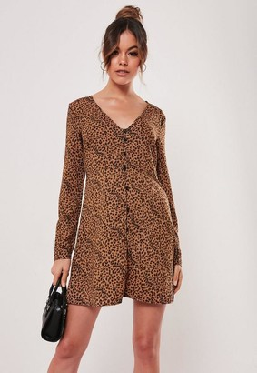 Missguided Brown Leopard Print Shift Dress