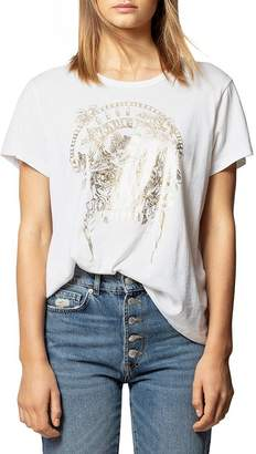 Zadig & Voltaire Gold Foiled Grateful Death Skeleton Tee