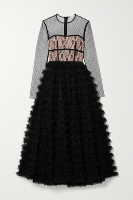 RED Valentino Ruffled Lace And Point D'esprit Tulle Maxi Dress - Black