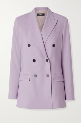 Theory Double-breasted Wool-blend Blazer - Lilac