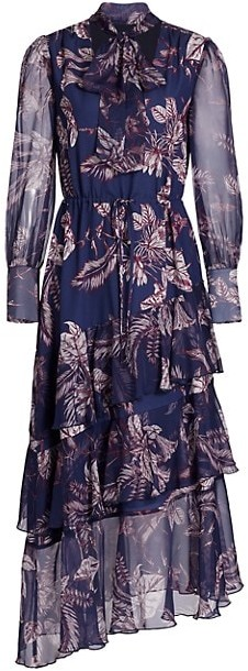 Marchesa Notte Printed Sheer-Sleeve Tiered Dress