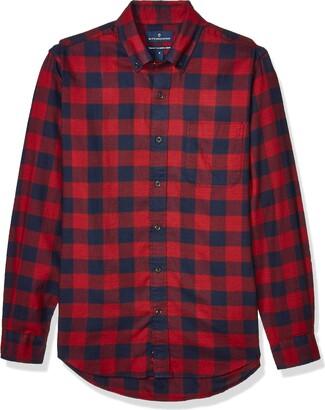 Buttoned Down Amazon Brand Men's Tailored Fit Supima Cotton Plaid Flannel Sport Shirt
