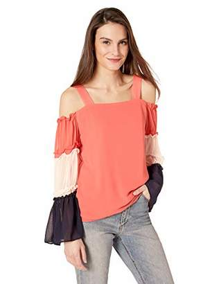 MSK Women's Cold Shoudler Color Block top with Tiered Sleeve
